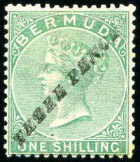 1874 QV Overprint 3d on 1/- green