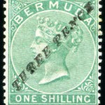 1874 QV Overprint 3d on 1/- green type 2
