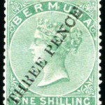 1874 QV Overprint 3d on 1/- green type 3