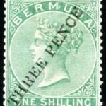 1874 QV Overprint 3d on 1/- green type 3