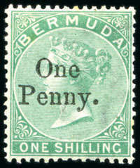 1875 QV Overprint 1d on 1/- green