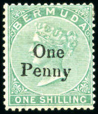 1875 QV Overprint 1d on 1/- green no full stop