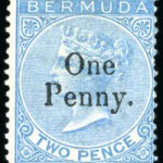 1875 QV Overprint 1d on 2d bright blue