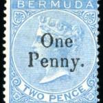 1875 QV Overprint 1d on 2d bright blue