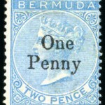 1875 QV Overprint 1d on 2d bright blue no full stop