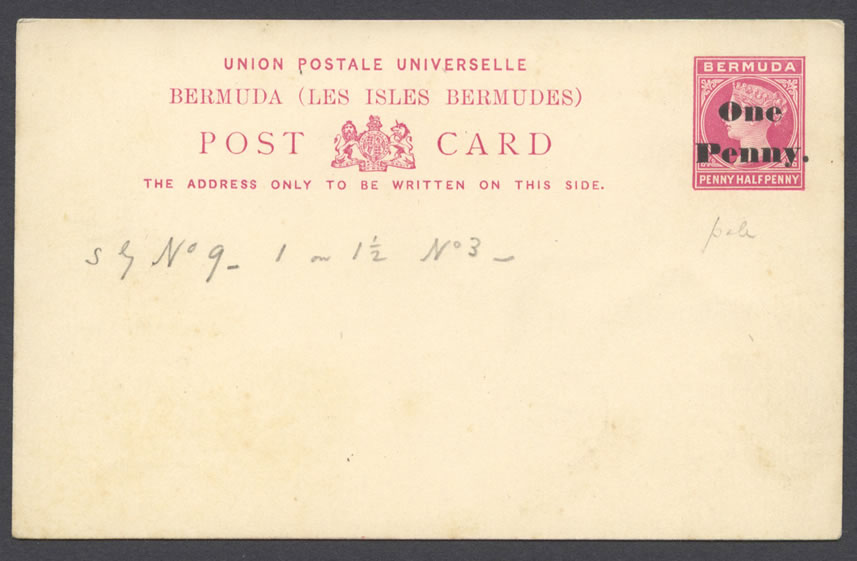 1893 1d Foreign Card with Provisional Surcharge