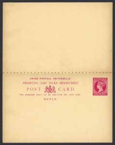 1893 One Penny Postal Card with Reply Card reverse