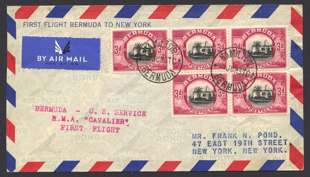 1937 Cavalier Bermuda to New York 3d stamps First Flight