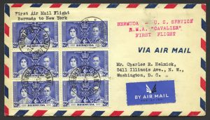 1937 First Flight Bermuda New York FF Block of 6 2 half d