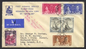 1937 Cavalier Bermuda to New York printed cachet First Flight