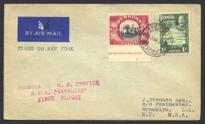 1937 Cavalier Bermuda to New York 1sch 3d First Flight