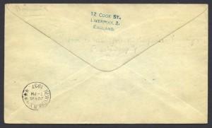 1937 Cavalier Bermuda to New York 1sch 3d reverse First Flight
