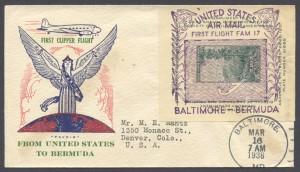 1939 First Flight FAM17 Baltimore Bermuda Cachet 2 FF