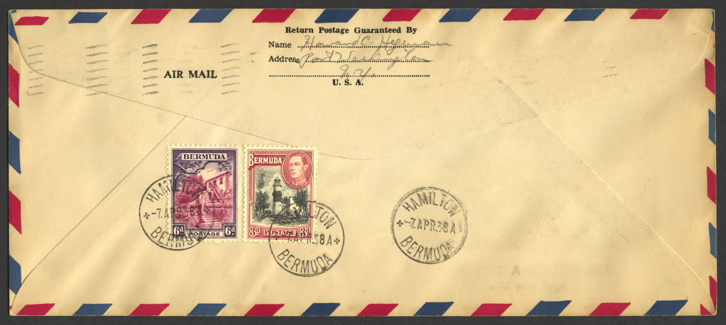1938 First US Trans-Atlantic Air Mail reverse FF