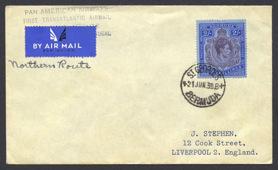 1939 First Transatlantic Airmail Northern Route 2/- keyplate FF