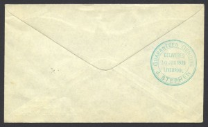 1939 First Transatlantic Airmail Northern Route 2/- keyplate reverse FF