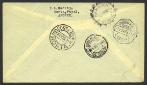 1939 Acceptance of Azores Souvenir Mail to Bermuda via PAA Southern Route