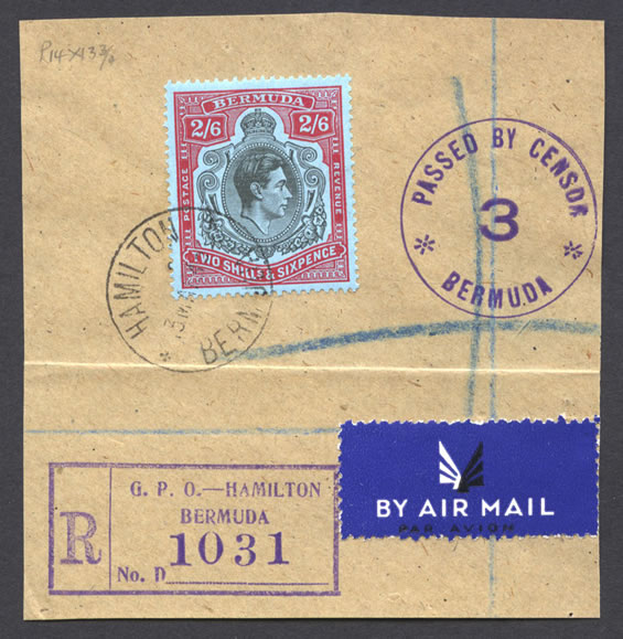 1943 Registerd Airmail 2/6 Key Plate on piece