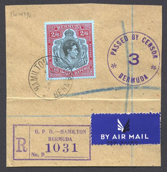 1943 Registerd Airmail 2/6 Key Plate on piece