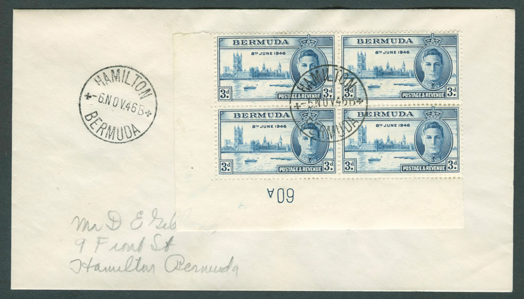 1946 Peace Victory 3d plate block 4 FDC