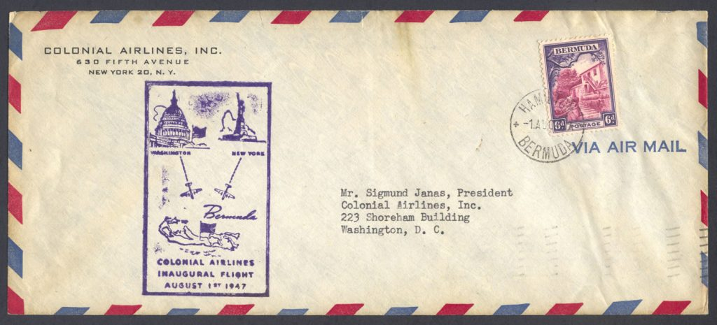1947 Colonial Airlines Inaugural Flight Washington DC FF
