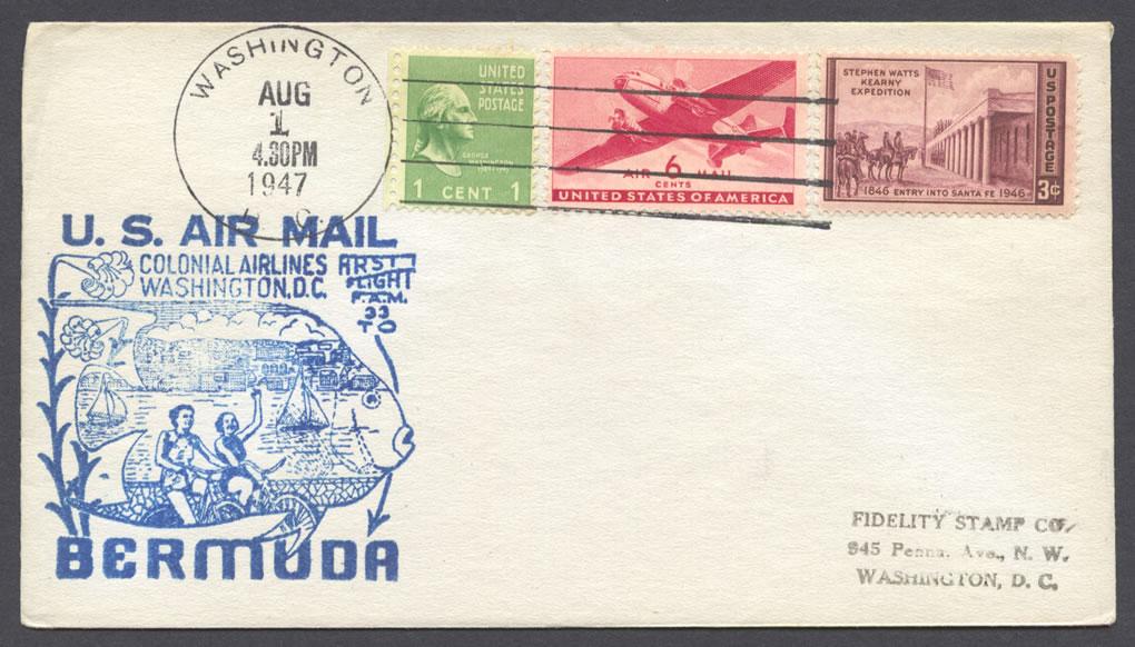 1947 FAM33 Colonial Airlines Washington to Bermuda FF