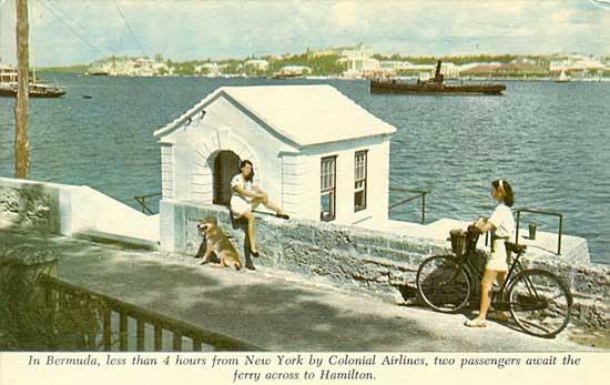 Colonial Airlines Hamilton postcard