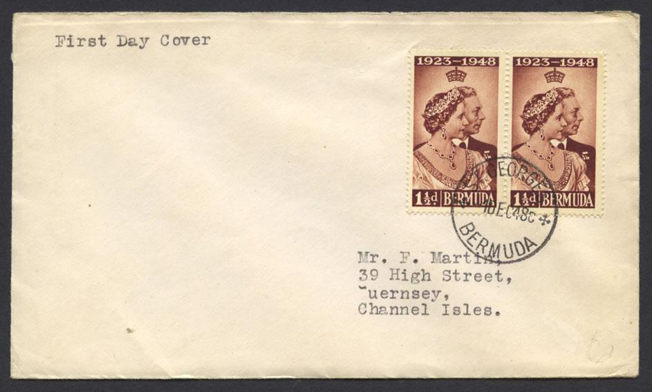 1948 Silver Anniversary 1½d x 2 fdc