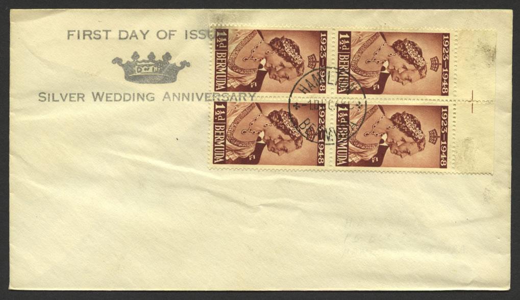 1948 Silver Anniversary 1½d x 4 fdc