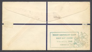 1949 Perot Centenary Registered reverse FDC