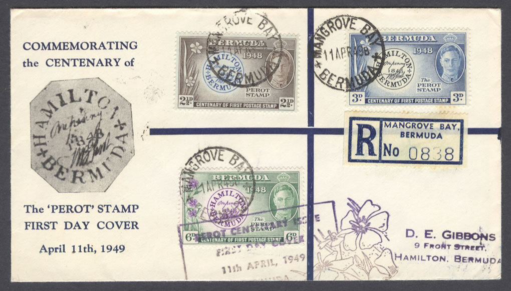 1949 Perot Centenary Registered FDC