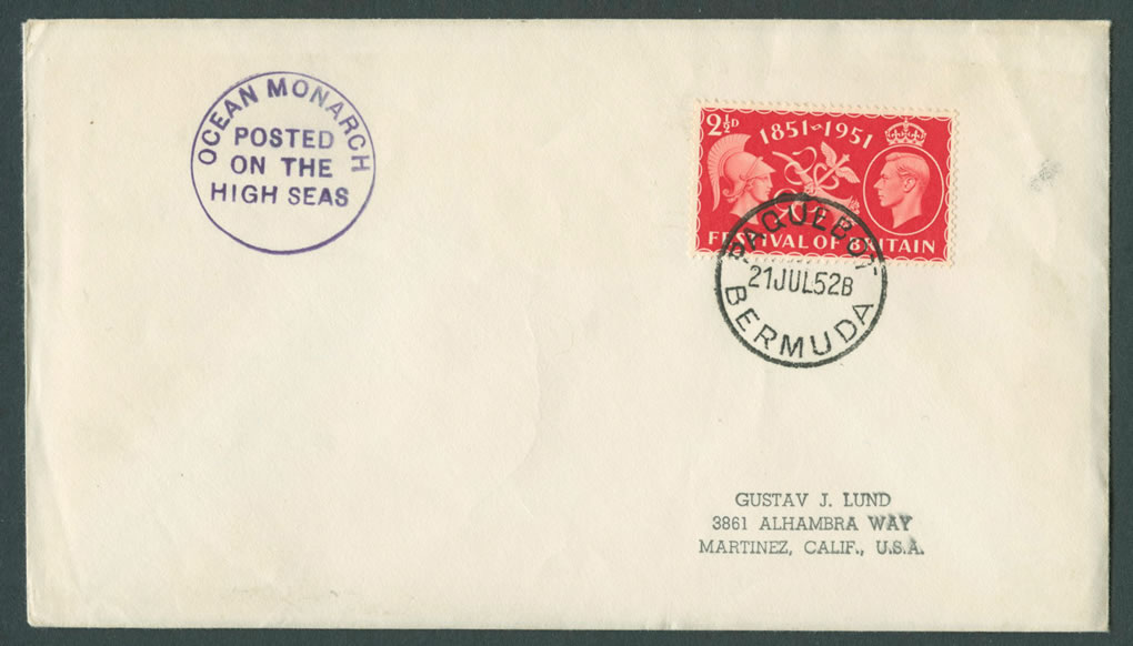 1952 Ocean Monarch GB KGVI Paquebot Cover