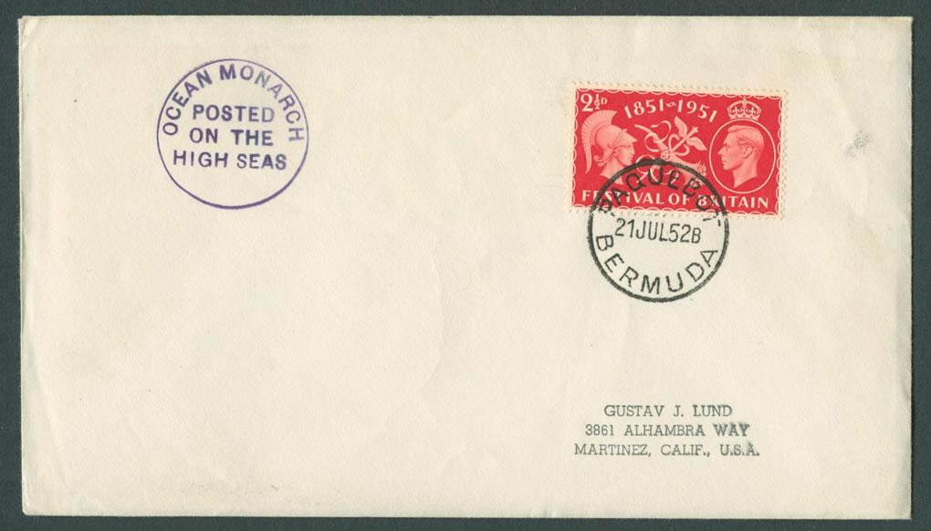 1952 Ocean Monarch GB KGVI Paquebot Cover