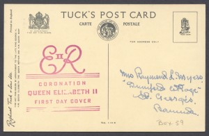 1953 Queen Elizabeth II Coronation Postcard reverse FDC