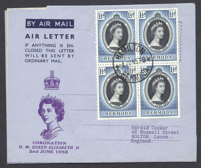 1953 Queen Elizabeth II Coronation omnibus Air Letter FDC