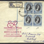 1953 Queen Elizabeth II Coronation block of 4 FDC