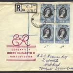 1953 Queen Elizabeth II Coronation block of 4 FDC