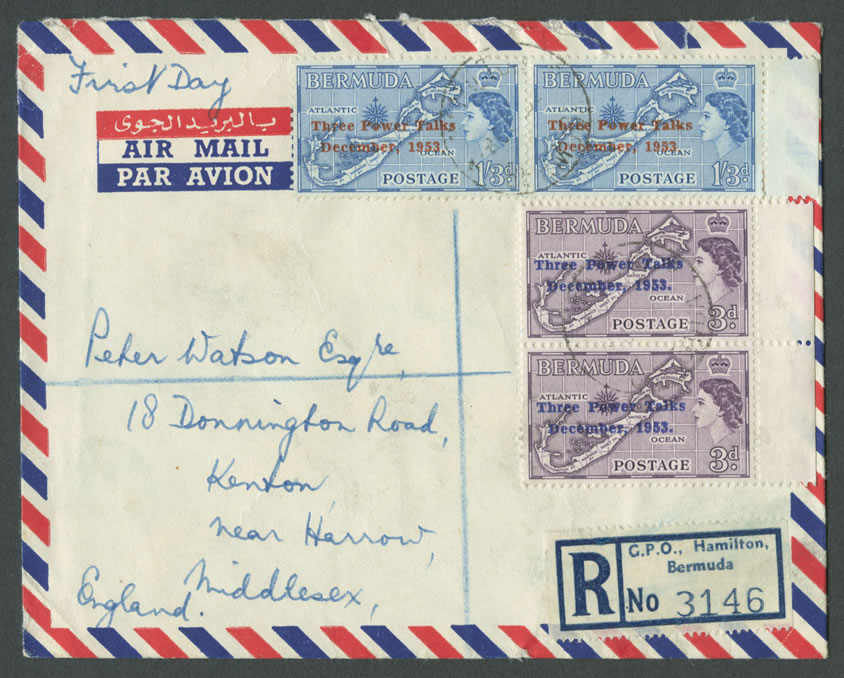 1953 Bermuda Conference overprints airmail FDC
