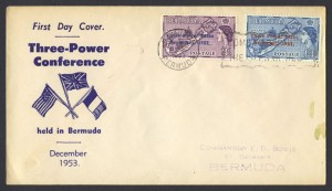 1953 Three Power Conference Bermuda overprints FDC