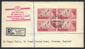 1955 8d White-tailed Tropicbird Phaeton flavirostris block of 4 FDC