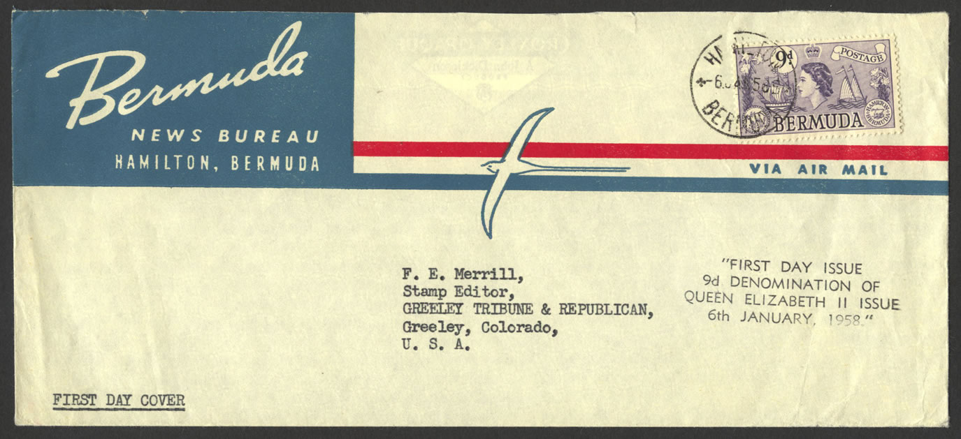 1958 9d definitive Bermuda News Bureau FDC