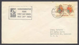 1959 350th Anniversary of Bermuda 1sh3d FDC