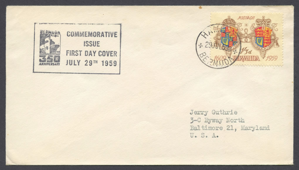 1959 350th Anniversary of Bermuda 1sh3d FDC