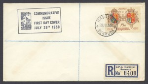 1959 350th Anniversary of Bermuda 1sch 3d FDC