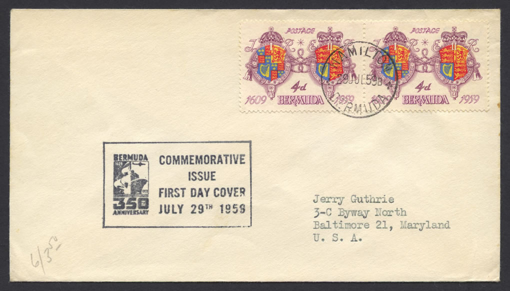 1959 350th Anniversary of Bermuda 4d FDC