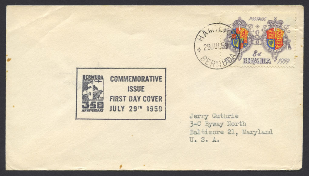 1959 350th Anniversary of Bermuda 8d FDC