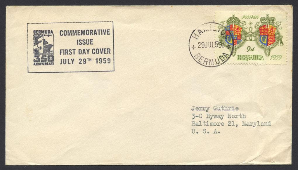 1959 350th Anniversary of Bermuda 9d FDC