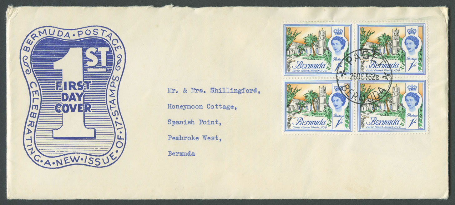 1962 Buildings of Bermuda 1sh block 4 FDC