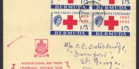 1963 Red Cross Centenary 1/3 block of 4 FDC