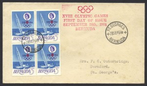 1964 XVII Olympic Games Japan block of 4 FDC